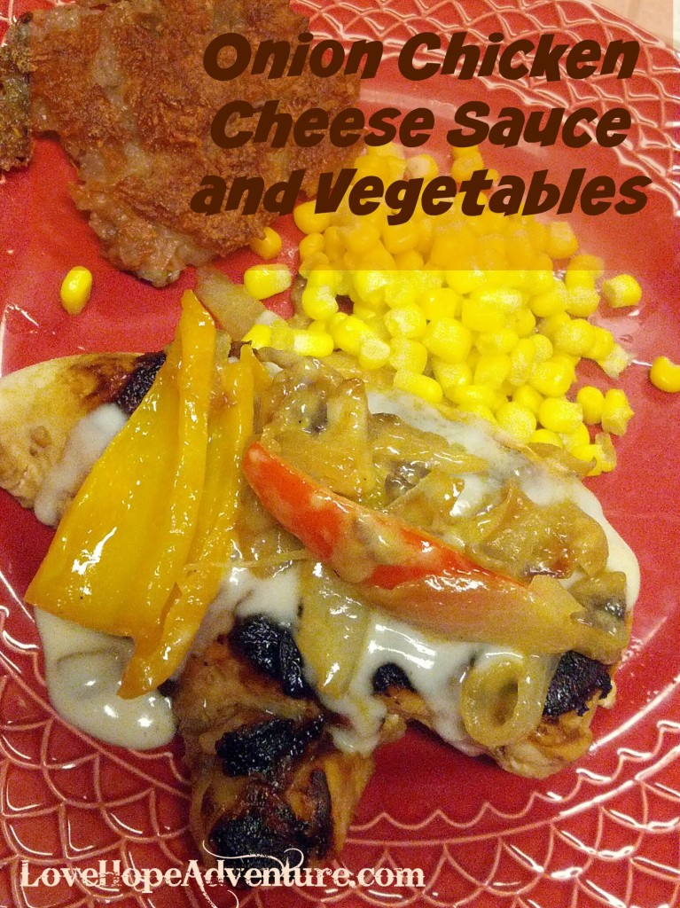 Onion chicen cheese sauce and vegetables