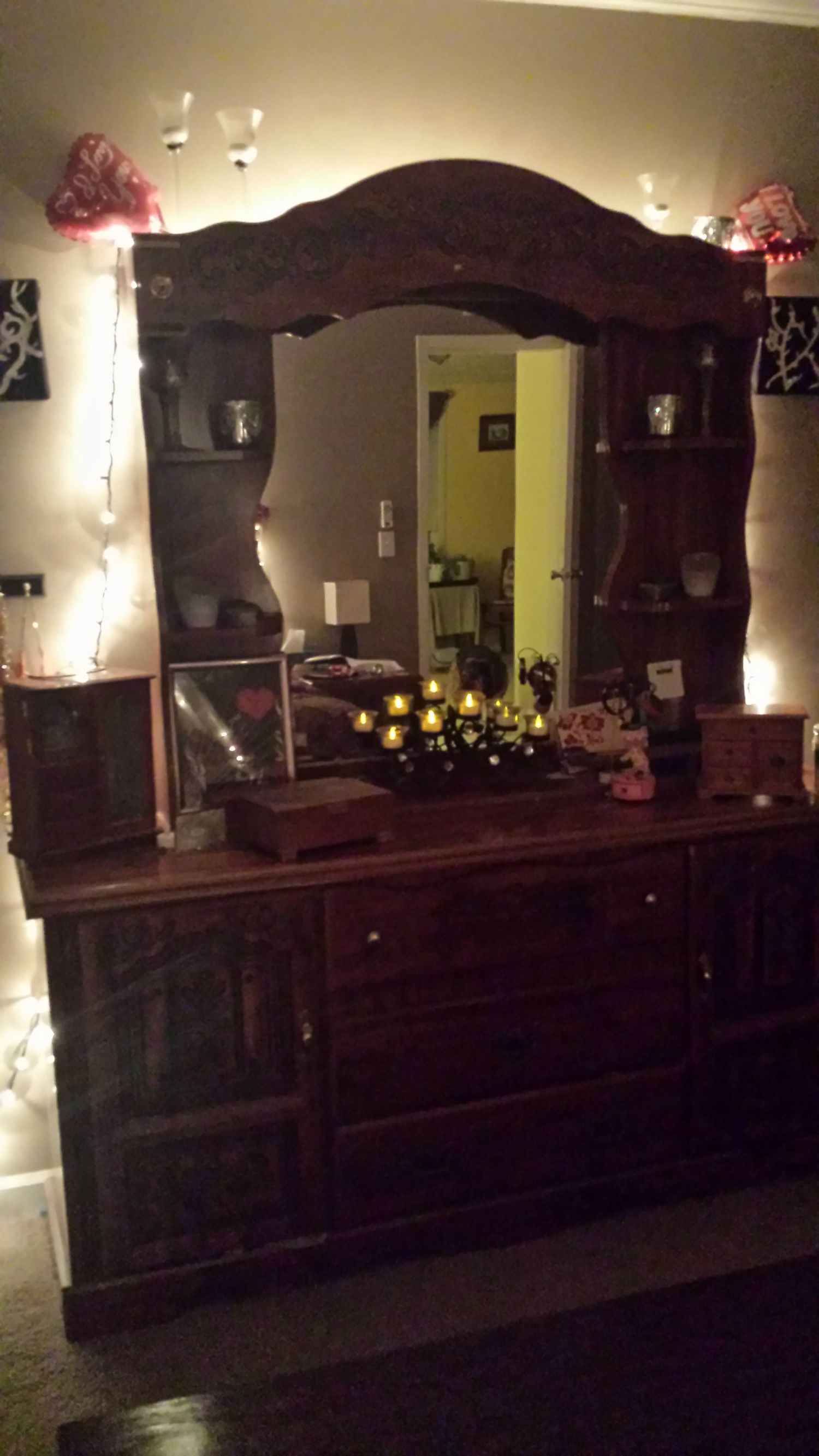 lights around the dresser